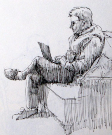 Engrossed at the coffee shop, he had no idea I was drawing him