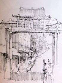 Quick urban sketch of the International Gate in Seattle